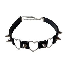 TRIPLE HEART CHOKER ($25) ❤ liked on Polyvore featuring jewelry, necklaces, accessories, chokers, black, heart chain necklace, stud necklace, chain jewelry, studded choker and heart choker necklace