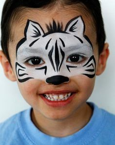 Have to remember this one.I hate when someone asks for a Zebra! Schmink Zebra / face paint www. Face Painting For Boys, Face Painting Designs, Body Painting, Animal Face Paintings, Animal Faces, Boy Face, Child Face, Looks Halloween, Halloween Face