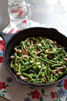 Green Beans with Beech Mushrooms & Olives | A Perfect Side Dish | Vegan recipe on FamilyFreshCooking.com @Marla Meridith