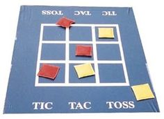 bean bag toss game - use twister playing mat and try to match your bean bag color to the twister circle color
