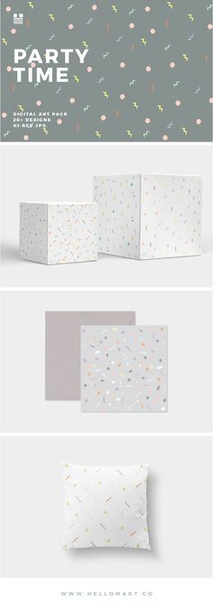 Party Time is a pattern set inspired by confetti and cake sprinkles. The set includes over 20 seamless designs in pastel colors.