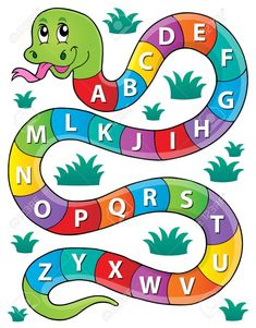 Snake with alphabet theme image 1 - picture illustration. Learning Numbers Preschool, Preschool Activities, Snake Crafts, Elementary Physical Education, Wall Painting Decor, Class Decoration, Love Life Quotes, Color Pencil Art, Banner Printing