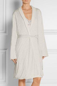 Eberjey | Alpine reversible mélange jersey and fleece robe | NET-A-PORTER.COM