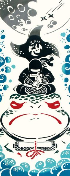 Japanese Tenugui cotton towel fabric. Japanese Ninjya + toad / frog design. High quality tenugui fabrics made of soft 100% cotton cloth and hand dyed by Japanese master dyers. [ H o w T o U s e ] * towel * washcloth * dishcloth * headband / bandanna * scarf * wall hanging (like a