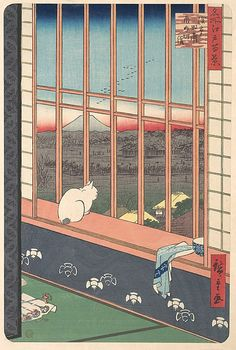 Revelers Returned from the Tori no Machi Festival at Asakusa, from the series One Hundred Famous Views of Edo - 1857, Utagawa Hiroshige / The inscription on this print tells us that the scene is located in Asakusa Tammbo, a famous gay quarter located in the eastern part of Edo.