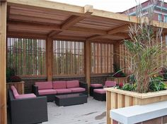 Contemporary Shade Structure  Pergola and Patio Cover. Like bamboo privacy screen & roof