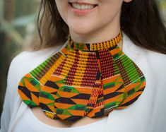 Handmade Fabric Dashiki Kente Ankara African Print, Rope Necklace, Collar Fabric Bib Collar Necklace - Fabric Cloth Necklaces One Size Diy African Jewelry, African Accessories, African Necklace, Latest African Fashion Dresses, African Print Fashion, African Outfits, Fabric Necklace, Fabric Jewelry, Black And White Earrings