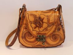 Vintage Tooled Leather Purse  Rose Decal Leather by FunkieFrocks. FunkieFrocks on etsy. Coupon code SPRING17 for 20% off.