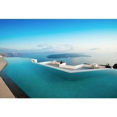 superb santorini grace pool and ocean ❤ liked on Polyvore