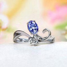 Sterling Silver White Topaz, Tanzanite Ring