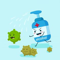 Alcohol Character In Flat Style Running Disinfect Coronavirus. Pump, Spray Or Gel Bottle. Illustration Design Concept Of Healthcare And Medical. Stop Corona Virus And Concept. Kindergarten Worksheets, Preschool Activities, Drawing For Kids, Art For Kids, Hand Washing Poster, Illustration Inspiration, Drawing Competition, School Safety, Poster Drawing