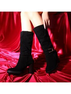 The autumn of the high heels and thick with waterproof fuzzing villi bottom to crus of women's winter boots have big yards