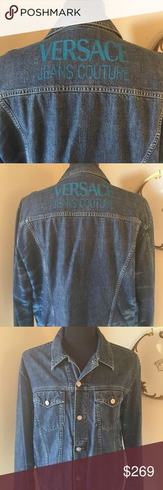 VERSACE MEN'S DENIM JACKET 100% AUTHENTIC VERSACE JEANS COUTURE MEN'S DENIM JACKET. 100% AUTHENTIC.  AMAZING JACKET IN GREAT CONDITION AS YOU CAN SEE FROM THE PICTURES.  ONLY WORN ONCE OR TWICE.  IT IS SIZED AT XXL HOWEVER DESIGNER ITEMS ARE FITTED. THE CHEST SIZE IS 48 INCHES AND THE WAIST WIDTH IS 40 INCHES THE SLEEVE LENGTH IS 28 INCHES Versace Jackets & Coats