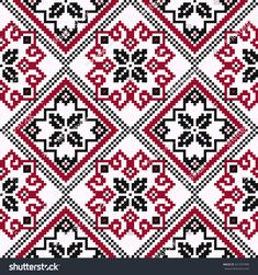 Ethnic Ukrainian geometric broidery in hues of black and red on the light pink background, seamless vector pattern