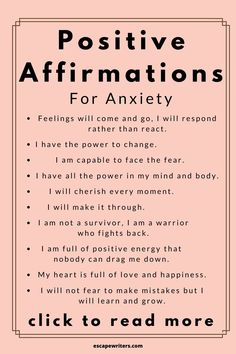 POSITIVE AFFIRMATIONS TO FIGHT AGAINST ANXIETY