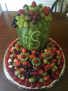 Monogram fruit tray for wedding/ bridal shower