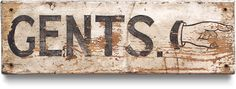 Early-1900s vintage painted wooden lavatory sign: Gents