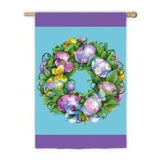 "Garden Size Flag Easter Wreath by House-Impressions. Save 62 Off!. $5.99. Great for yourself or as a gift. Words can be read on both sides. Soft yet weather resistant nylon material. Silk Reflections Flag. 12.5"" x 18"". Make an impression! These beautiful, brightly colored, creatively designed flags are the perfect way to greet someone to your home or garden. Made with tight-stitching and high quality material to last and last. Our applique regular size flags are extra-durable, weather-wear…"