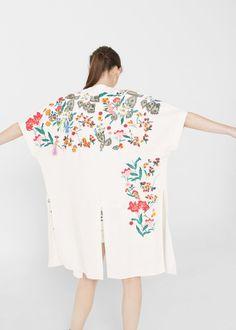 Floral embroidered kaftan - Women | MANGO USA