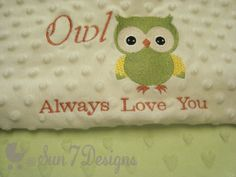 Custom Designed Personalized Baby Blankets at www.sun7designs.com Like us on Facebook www.facebook.com/sun7designs