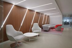 Modern office Lounge - Office Tour Volunteers of America Offices New York City. Corporate Interior Design, Corporate Interiors, Office Interiors, Office Space Design, Modern Office Design, Office Ceiling Design, Lobby Interior, Interior Architecture, Office Lounge
