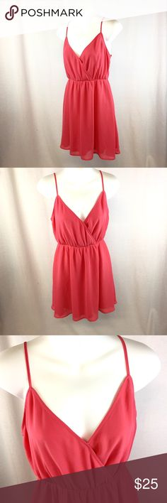 """Forever 21 Pink Spaghetti Strap Dress This adorable dress has been gently preloved, & is still in good condition! I do not notice any major flaws. It's such a feminine, girly, flattering dress. The chest measures about 17.5"""" across flat from armpit to armpit, the elastic waist measures 12"""" across flat relaxed, & it's about 33"""" from shoulder to hem (but that is with the straps adjusted halfway). Reasonable OFFICIAL Offers may be considered 😊 Forever 21 Dresses Midi"""