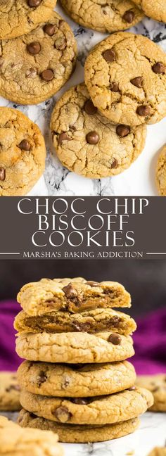 Chocolate Chip Biscoff Cookies - Deliciously thick and chewy Biscoff cookies that are loaded with chocolate chips, and have a surprise Biscoff centre! | marshasbakingaddiction.com | @marshasbakeblog #Biscoff #cookies #dessert #recipe