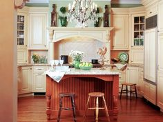 Kitchen French Country Kitchen Designs And Traditional Furniture Ideas And Modern Conveniences Decor And White Detailed Kitchen Cabinets And Elegance Crystal Chandelier Lighting Fixtures And Rooster Figure Quirky French Country Kitchen Ideas