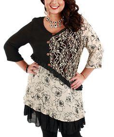Black & Beige Floral Patchwork Three-Quarter Sleeve Tunic - Plus #zulily #zulilyfinds