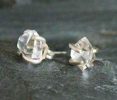 Gorgeous Herkimer diamond stud earrings. Modern and edgy. Herkimer diamonds are unique quartz crystals that resemble diamonds because of their unusual double matrix formations, found in herkimer, new york. Diamonds are set in a handcrafted sterling silver prongs.