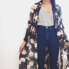 Love the shirt and high-waisted jeans ... Don't know that I'm brave enough for the huge sheer jacket ...