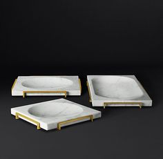 Alcala Tray Collection - White Marble