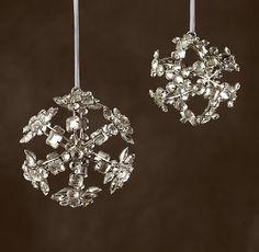 Victorian Glass Snowflake Sphere Ornament - Beaded
