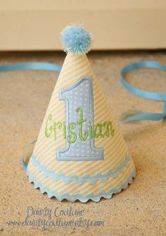 This dapper hat is beautifully crafted with a sweet yellow and white pin stripe fabric, perfect for your little man. An appliqued number of your Birthday Party Hats, First Birthday Hats, 60th Birthday, First Birthdays, Birthday Ideas, Party Supply Store, For Your Party, Party Time, Party Supplies