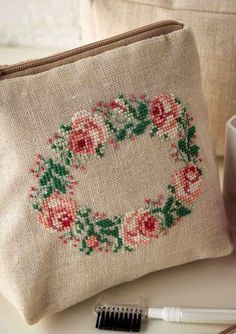 Bag of Roses- Project Available in Cross Stitch Collection 253 Cross Stitch Pillow, Just Cross Stitch, Cross Stitch Flowers, Cross Stitch Kits, Cross Stitch Designs, Cross Stitch Patterns, Cross Stitching, Cross Stitch Embroidery, Hand Embroidery