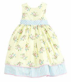 Laura Ashley London 2T6X Sleeveless TwinPrint Poplin Dress #Dillards