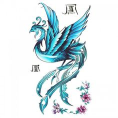 King Horse Tattoo sticker female waterproof blue phoenix pattern peony -- You can find more details by visiting the image link. (This is an affiliate link and I receive a commission for the sales) Phoenix Tattoo Design, Phoenix Design, Pink Flower Tattoos, Flower Tattoo Designs, Ankle Tattoos, Foot Tattoos, Tatoos, Tattoo Ave Fenix, Bird Tattoos
