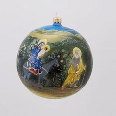 David Strand Designs Glass Flight to Egypt Religious Christmas Ball Ornament 5""