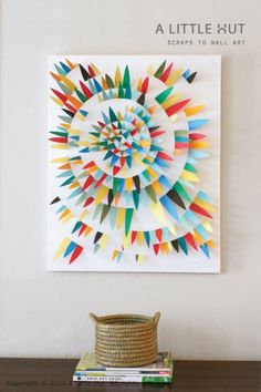 15 Easy DIY Art Projects!  Great idea for paper scraps.  I love the look of this!
