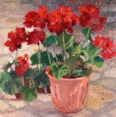 """""""Geranium Day_geraniums, red flowers"""" - Original Fine Art for Sale - © V.... Vaughan"""
