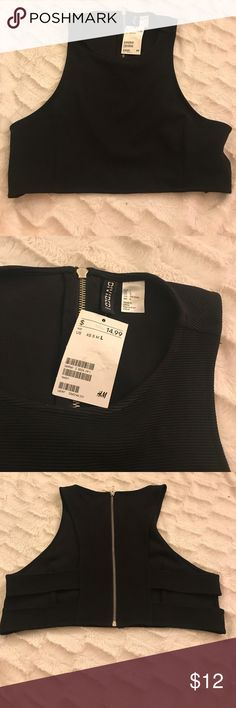 BNWT Black H&M large black crop top Brand new with tags black H&M large crop top.. cute cut out back and back zipper H&M Tops Crop Tops