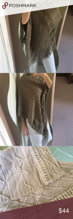 Embroidered Knit Fringe Poncho Beautiful and cozy tan colored knitted poncho! Super soft cotton/acrylic blend fabric. It's substantial weight without being too heavy so it's ultra comfortable! The knitting is beautiful and intricate with fringe along hem. V-neck style, one size, brand new. No label. Perfect for your fall closet! ❤️ Boutique Sweaters Shrugs & Ponchos