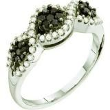 Share 0.50 Carat (ctw) 14k White Gold Round Black & White Diamond Ladies Right Hand Cluster Flower Band - Dazzling Rock #https://www.pinterest.com/dazzlingrock/