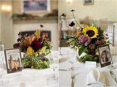 wildflower centerpieces, Spanish themed table numbers | photo by http://www.preftakesphoto.com/