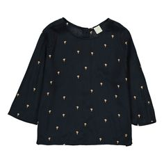 Des petits hauts Thessa Hot-Air-Balloon Blouse with Back Buttons Midnight blue