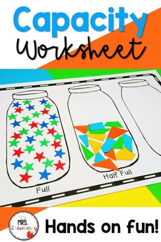 Teach capacity with your little ones using these jars. Compare how full or empty the jars are. Use in your measurement and data unit for math. Great for preschool, kindergarten or first grade. Review after a unit later in the year. Capacity Activities, Capacity Worksheets, Measurement Activities, Phonics Activities, Color Activities, Primary Resources, Free Teaching Resources, Primary Education, Help Teaching