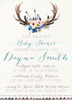 boho baby shower invitation woodland boy baby shower invitation $16 - kreynadesigns.etsy.com