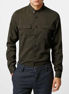 Khaki Long Sleeve Crepe Military Overshirt
