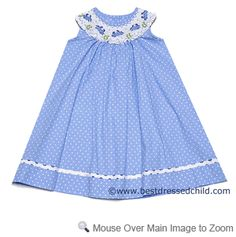 Collection Bebe by Vive la Fete Girls Blue / White Dots Smocked Crabs Bishop Dress