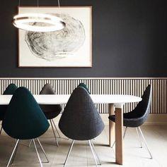 The Drop Chair by Arne Jacobsen in Dinesen's showroom in Copenhagen, which is designed by OeO Design Studio.